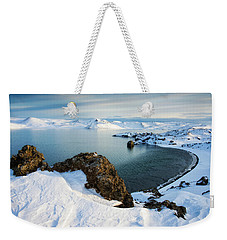 Weekender Tote Bag featuring the photograph Lake Kleifarvatn Iceland In Winter by Matthias Hauser