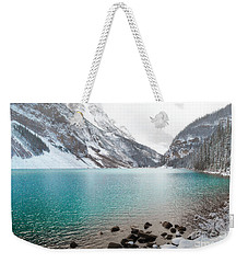 Lake Louise Mountain Snow Forest Landscape Weekender Tote Bag by Andrea Hazel Ihlefeld