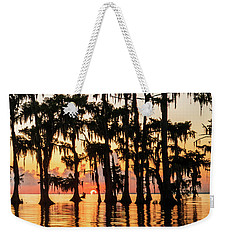 Lake Maurepas Sunrise Triptych No 1 Weekender Tote Bag by Andy Crawford