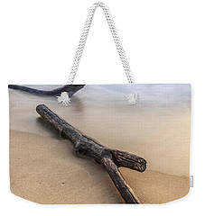 Weekender Tote Bag featuring the photograph Lake Michigan Beach Driftwood by Adam Romanowicz