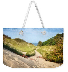 Weekender Tote Bag featuring the photograph lake Michigan Coastal Dune Path by Michelle Calkins