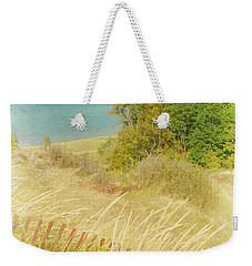 Weekender Tote Bag featuring the photograph Lake Michigan Dune View by Michelle Calkins