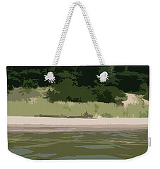 Weekender Tote Bag featuring the digital art Lake Michigan Shoreline - Beach by Michelle Calkins
