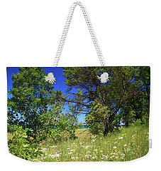 Weekender Tote Bag featuring the photograph Lake Michigan Through The Trees by Scott Kingery