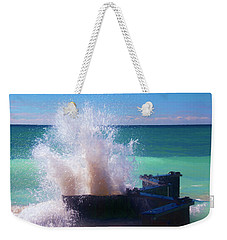 Lake Michigan Wave Crash Weekender Tote Bag