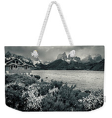 Weekender Tote Bag featuring the photograph Lake Pehoe In Black And White by Andrew Matwijec