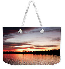 Weekender Tote Bag featuring the photograph Lake Sunset, Pocono Mountains, Pennsylvania by A Gurmankin
