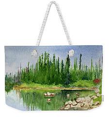 Weekender Tote Bag featuring the painting Lake View 1-2 by Yoshiko Mishina