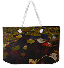 Weekender Tote Bag featuring the painting Lake Washington Lilypad 7 by Thu Nguyen