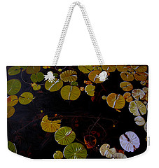 Weekender Tote Bag featuring the painting Lake Washington Lilypad 8 by Thu Nguyen