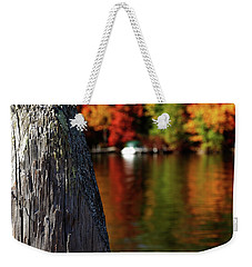 Lake Winnepesaukee Dock With Foliage In The Distance Weekender Tote Bag