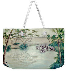 Lake With Oasis And Palm Trees Weekender Tote Bag