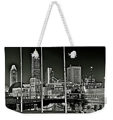 Weekender Tote Bag featuring the photograph Lakefront Grayscale by Frozen in Time Fine Art Photography