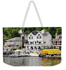 Weekender Tote Bag featuring the photograph Lakefront Living Hopatcong by Maureen E Ritter