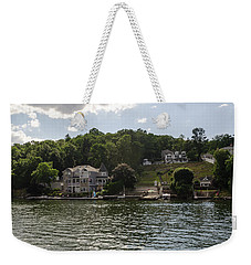 Weekender Tote Bag featuring the photograph Lakeside Living Hopatcong by Maureen E Ritter
