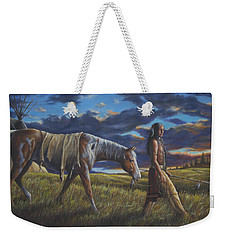 Weekender Tote Bag featuring the painting Lakota Sunrise by Kim Lockman