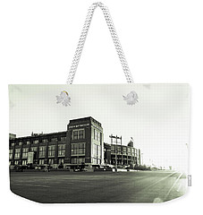 Weekender Tote Bag featuring the photograph Lambeau Field Minimalistic by Joel Witmeyer