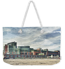 Weekender Tote Bag featuring the photograph Lambeau Field Painterly Edition by Joel Witmeyer