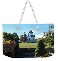 Land Locked Lighthouse Weekender Tote Bag by Catherine Gagne