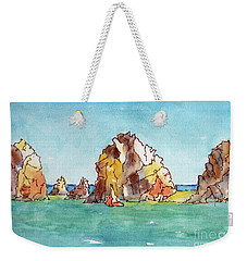 Weekender Tote Bag featuring the painting Lands End Cabo San Lucas Mexico by Pat Katz