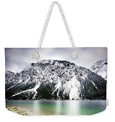Landscape Of Plansee Lake And Alps Mountains During Winter, Snowy View, Tyrol, Austria. Weekender Tote Bag