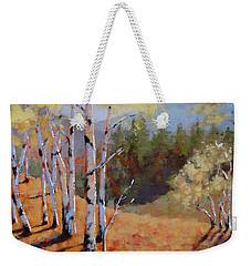 Weekender Tote Bag featuring the painting Landscape Series 1 by Laura Lee Zanghetti