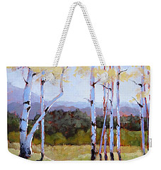 Weekender Tote Bag featuring the painting Landscape Series 2 by Laura Lee Zanghetti