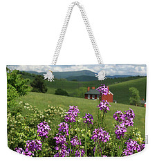 Landscape With Purple Flowers Weekender Tote Bag