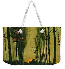 Weekender Tote Bag featuring the painting Lane Of Poplars At Sunset by Van Gogh