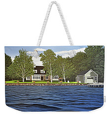 Weekender Tote Bag featuring the painting Langer Summer Home Lake Simcoe by Kenneth M Kirsch