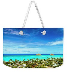 Lanikai Beach From The Pillbox Trail Weekender Tote Bag by Aloha Art