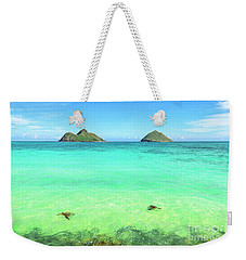 Lanikai Beach Two Sea Turtles And Two Mokes Weekender Tote Bag by Aloha Art