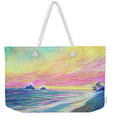 Weekender Tote Bag featuring the painting Lanikai Sunrise by Angela Treat Lyon