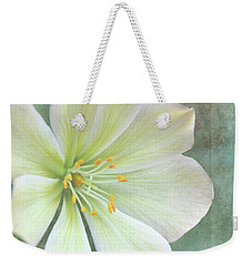 Weekender Tote Bag featuring the pyrography Large Flower by Lyn Randle