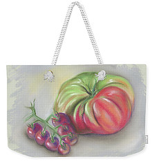 Large Heirloom Tomato With Purple Cherry Tomatoes Weekender Tote Bag by MM Anderson