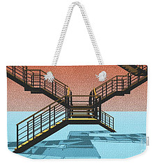 Large Stair 38 On Cyan And Strange Red Background Abstract Arhitecture Weekender Tote Bag by Pablo Franchi