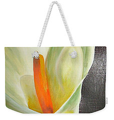Large White Calla Weekender Tote Bag by Tracey Harrington-Simpson