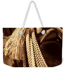 Lariat On A Saddle Weekender Tote Bag by American West Legend By Olivier Le Queinec