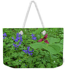 Larkspur And Red Trillium Weekender Tote Bag by Alan Lenk
