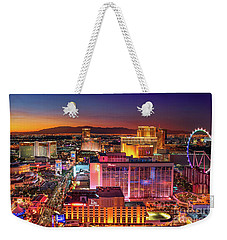 Weekender Tote Bag featuring the photograph Las Vegas Strip North View After Sunset by Aloha Art