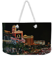 Las Vegas Strip Oil On Canvas Painting Weekender Tote Bag
