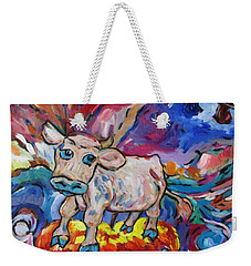 Weekender Tote Bag featuring the painting Last Cow Standing by Dianne  Connolly