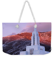Last Light At Draper Temple Weekender Tote Bag by Chad Dutson