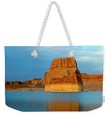 Weekender Tote Bag featuring the photograph Last Light At Lone Rock by Mike Dawson