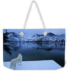 Last Light On Frozen Cascade Lake Weekender Tote Bag by Sean Sarsfield