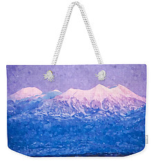 Weekender Tote Bag featuring the digital art Last Light On Mount Peale From Buck Canyon Overlook by Kai Saarto