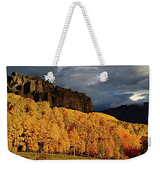 Late Afternoon Light On The Cliffs Near Silver Jack Reservoir In Autumn Weekender Tote Bag
