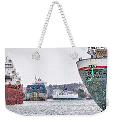Late Harbour Snow Weekender Tote Bag