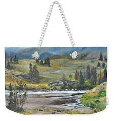 Late Summer In Yellowstone Weekender Tote Bag by Lori Brackett