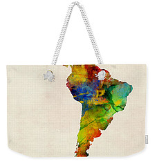 Weekender Tote Bag featuring the digital art Latin America Watercolor Map by Michael Tompsett
